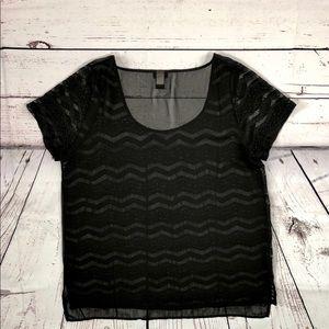 TORRID Black Lace Sheer Blouse Top